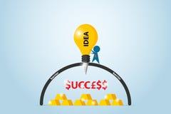 Affärsmanborrandebarriär med lightbulbdrillborren som finner framgångord och guld- stänger, idé och affärsidé Arkivfoto