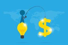 Affärsmanbruksmetspö som får dollarsymbol, idé och affärsidé Fotografering för Bildbyråer