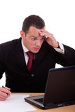 affärsmandator som ser förvånad till bekymrat Royaltyfria Foton