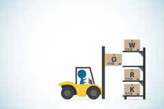Affärsmandrevgaffeltruck till att sätta asken på hyllan, affärsidé Arkivbilder