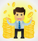 Den lyckade affärsmanen med buntar av guld- myntar Arkivfoto
