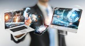 Affärsmanförbindande techapparater med en tolkning för penna 3D Fotografering för Bildbyråer