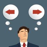Affärsmanförsök att göra lämnad eller höger vektorn den beslut, stock illustrationer