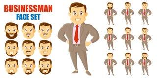 AffärsmanFace Set Cartoon tecken stock illustrationer