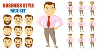 AffärsmanFace Set Cartoon tecken vektor illustrationer