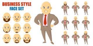 AffärsmanFace Set Cartoon tecken royaltyfri illustrationer