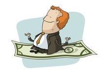 Affärsmanflyg på dollar Stock Illustrationer