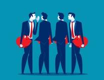 Affärsmanfolk med att samtala för spargrisar Illustration för begreppsaffärsvektor royaltyfri illustrationer