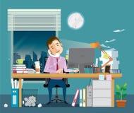 Affärsmanhårt arbete med telefonen i hand har mycket arbete vektor illustrationer