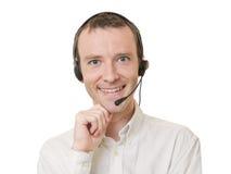 affärsmanhörlurar med mikrofon Arkivbild