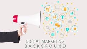 Affärsmanhand med högtalaren med symboler som ut flyger Digital marknadsföring Royaltyfri Fotografi