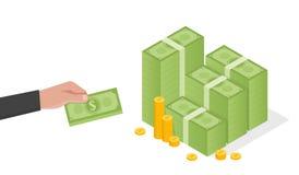 Affärsmanhanden rymmer en bunt av den gröna illustrationen för dollarpengarvektorn vektor illustrationer
