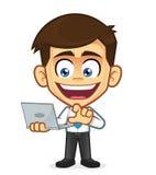 affärsmanholdingbärbar dator stock illustrationer