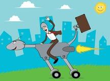 affärsmanhunden går kontoret som rider till turbo Royaltyfria Foton