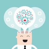 Affärsmanhuvud med de kugghjultankarna och idéerna Arkivbild