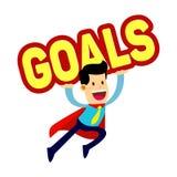AffärsmanIn Red Cape flyg medan Carry Goals Sign Arkivbilder