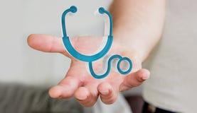 Affärsmaninnehav och rörande medicinsk tolkning för symbol 3D Royaltyfria Bilder