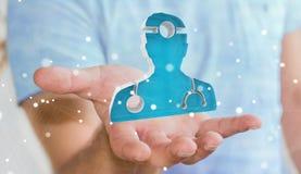 Affärsmaninnehav och rörande medicinsk tolkning för symbol 3D Royaltyfri Foto