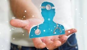 Affärsmaninnehav och rörande medicinsk tolkning för symbol 3D Arkivfoton
