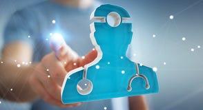 Affärsmaninnehav och rörande medicinsk tolkning för symbol 3D Arkivfoto
