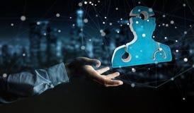 Affärsmaninnehav och rörande medicinsk tolkning för symbol 3D Fotografering för Bildbyråer