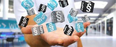 Affärsmaninnehav och trycka på lagkuber för tolkning 3D Royaltyfri Foto