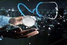 Affärsmaninnehav och trycka på sväva renderi för stetoskop 3D Royaltyfri Foto