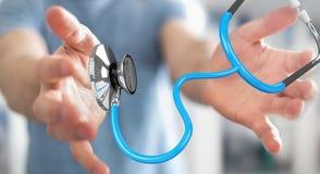Affärsmaninnehav och trycka på sväva renderi för stetoskop 3D Royaltyfri Bild