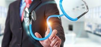 Affärsmaninnehav och trycka på sväva renderi för stetoskop 3D Royaltyfri Fotografi