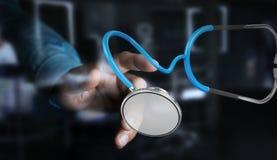 Affärsmaninnehav och trycka på sväva renderi för stetoskop 3D Arkivbild