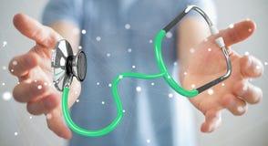 Affärsmaninnehav och trycka på sväva renderi för stetoskop 3D Arkivfoto