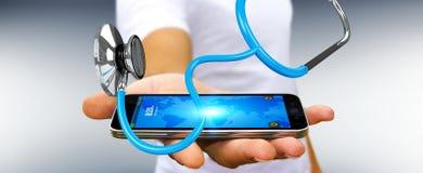 Affärsmaninnehav och trycka på sväva renderi för stetoskop 3D Arkivfoton