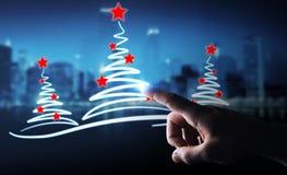 Affärsmaninnehavet och rörande julträd skissar Arkivbilder