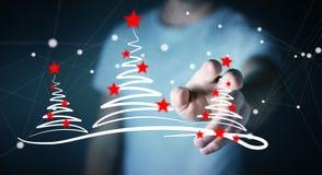 Affärsmaninnehavet och rörande julträd skissar Royaltyfri Bild