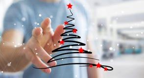 Affärsmaninnehavet och rörande julträd skissar Arkivfoton