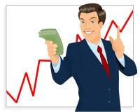 Affärsmaninnehavpacke av pengar Arkivfoto