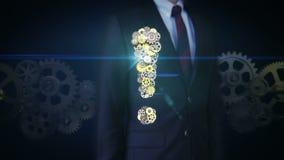 Affärsmanklappkugghjulet, stålsätter guld- kugghjul som gör utropsteckenet för att forma stock video