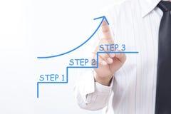 Affärsmanklapppil som pekar upp med moment 1, moment 2, moment 3 - Royaltyfri Fotografi
