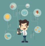 Affärsmankommunikationsteknologi stock illustrationer