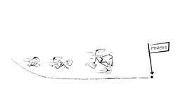 Affärsmankonkurrens som kör springer till mållinjen Royaltyfri Illustrationer