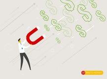 Affärsmanmagneten tilldrar pengar Arkivbilder