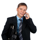 affärsmanmantelefon Arkivbilder