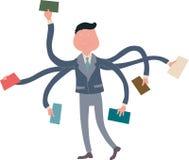 Affärsmanmultitasking med åtskilliga armar stock illustrationer