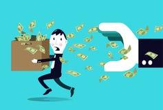 Affärsmannederlagpengar från en stor hand. Arkivbild