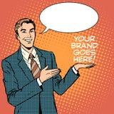 Affärsmannen annonserar ditt märke går här royaltyfri illustrationer