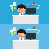 Affärsmannen arbetar på en skrivbordvektorillustration Fotografering för Bildbyråer