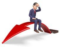 Affärsmannen Arrow Indicates Lack av framgång och pilar 3d framför Royaltyfri Fotografi