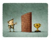 Affärsmannen av en tegelstenvägg har framme svårigheten som når hans mål royaltyfri illustrationer