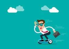 Affärsmannen bär solglasögon som rymmer portföljen som går att arbeta vid hoverboard Isolerad vektorillustration Arkivbilder