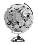affärsmannen coins isolerad wh för gåvan jordklotet Royaltyfria Bilder
